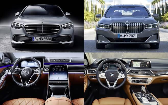 국내 출시 예정인 벤츠 S클래스(왼쪽)와 지난해 국내 출시된 BMW 7시리즈 [사진 제공=벤츠·BMW]