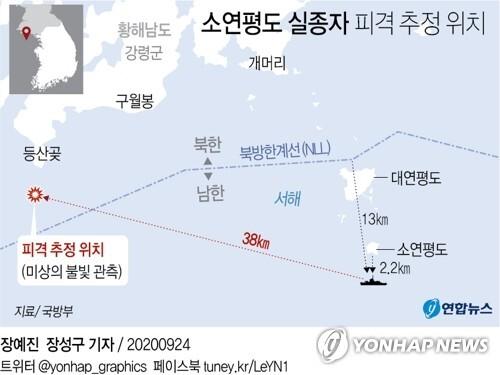 [그래픽] 소연평도 실종자 피격 추정 위치 (서울=연합뉴스) 장성구 기자 = sunggu@yna.co.kr