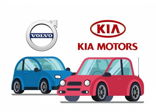 볼보 S90와 기아 K9은 브랜드를 상징하는 최고급 모델이다. /그래픽=김민준 기자