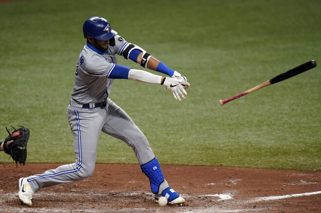 Toronto Blue Jays' Lourdes Gurriel Jr. loses his bat as he fouls off a pitch from Tampa Bay Rays relief pitcher Diego Castillo during the seventh inning of Game 1 of a wild card series playoff baseball game Tuesday, Sept. 29, 2020, in St. Petersburg, Fla. (AP Photo/Chris O'Meara)        <저작권자(c) 연합뉴스, 무단 전재-재배포 금지 >