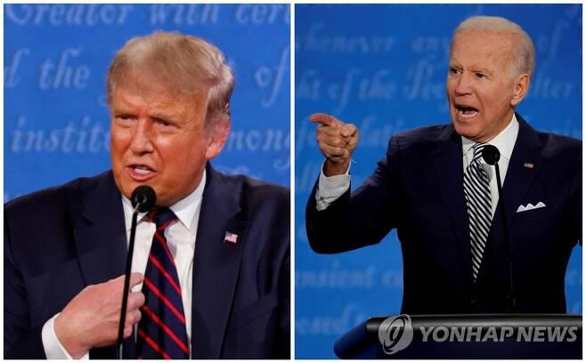 미국의 망조로 우려를 산 도널드 트럼프 대통령과 조 바이든 전 부통령의 첫 대선토론[로이터=연합뉴스 자료사진]