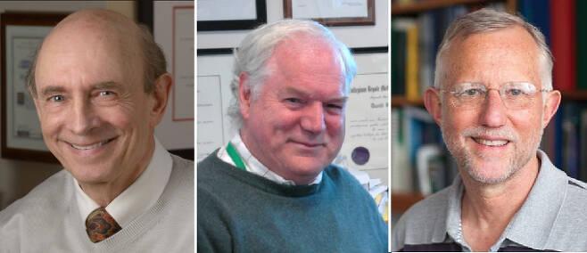 스웨덴 카롤린스카 의대 노벨위원회가 2020 노벨생리의학상 수상자를 발표했다. (왼쪽부터) 하비 올터(85) 미국 국립보건원(NIH) 부소장과 마이클 호턴캐나다 앨버타대학교 교수, 찰스 라이스(68) 미국 록펠러대학교 교수. 노벨위원회 제공