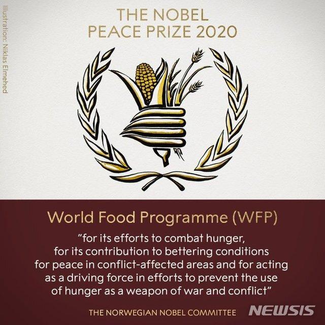 [서울=뉴시스] 노르웨이 노벨위원회는 9일(현지시간) 세계식량기구(WFP)을 노벨 평화상 수상자로 선정했다고 발표했다. 사진은 노벨위원회가 홈페이지에 게재한 그래픽. 2020.10.09
