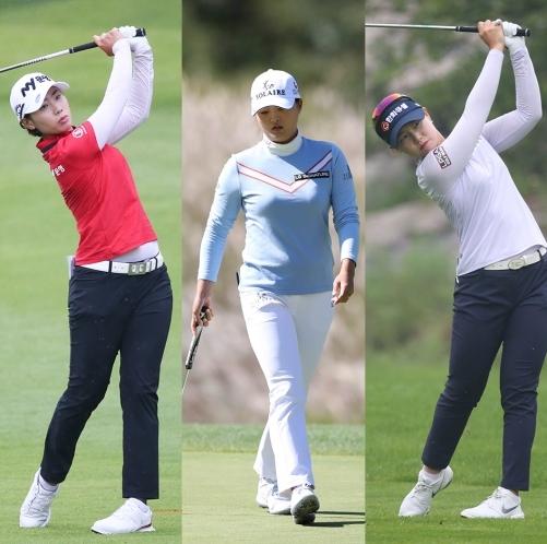 2020년 한국여자프로골프(KLPGA) 투어 오텍캐리어 챔피언십 골프대회에 출전한 안나린, 고진영, 임희정 프로가 우승 경쟁을 벌인다. 사진제공=KLPGA