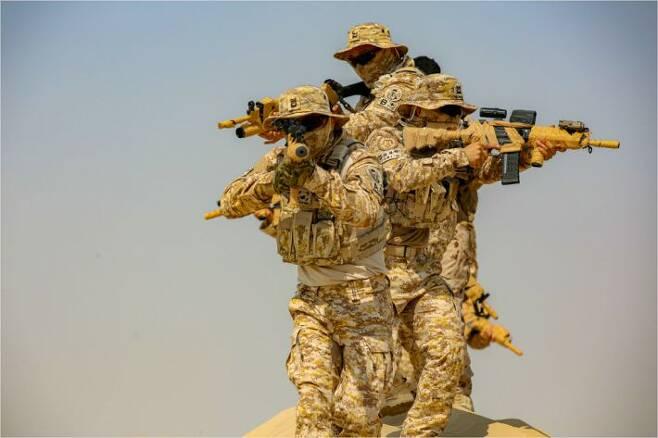 UAE에 파병된 군사훈련협력단(아크부대) 대원들이 현지에서 훈련을 하고 있다. 육군 특수전사령부(특전사) 소속인 사진의 대원들은 '워리어 플랫폼'이 적용된 개인장비를 지급받은 것으로 보인다. 총기에는 조준경과 표적지시기가 달려 있다.(사진=합동참모본부 제공)