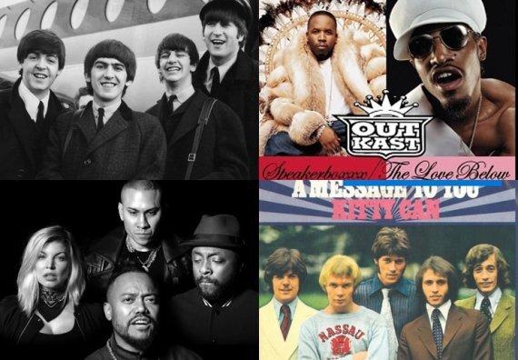 빌보드 역사상 핫100 1,2위 동시 석권한 그룹들. 비틀즈(왼쪽 상단), 비지스(오른쪽 하단), 아웃캐스트(오른쪽 상단), 블랙아이드피스(왼쪽 하단). 사진=온라인 커뮤니티 캡처