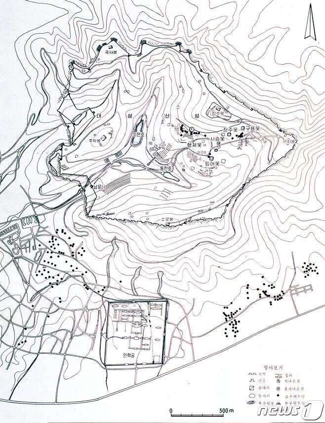 (서울=뉴스1) 북한이 1970년대에 작성한 대성산성과 대성산 남쪽의 고구려유적 분포도. (미디어한국학 제공) 2020.10.17./뉴스1 photo@news1.kr