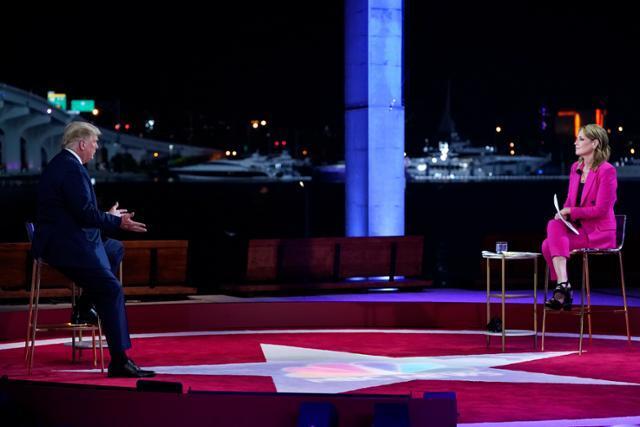 서배너 거스리(오른쪽) 미국 NBC방송 앵커가 15일 플로리다주 마이애미 페레즈미술관에서 진행된 도널드 트럼프 미 대통령의 NBC 타운홀 미팅을 진행하고 있다. 마이애미=AP 연합뉴스