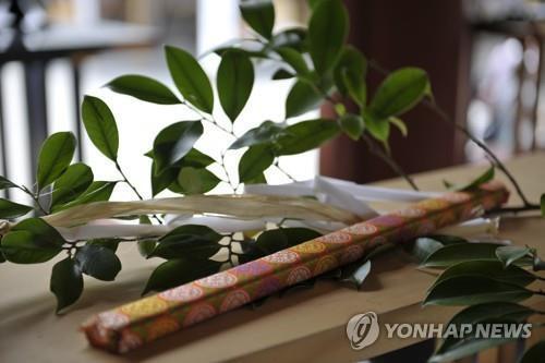 일본 신사에 공물로 바치는 다마구시(玉串) [연합뉴스 자료사진]