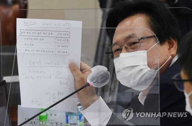 질의하는 강기윤 의원 [연합뉴스 자료사진]