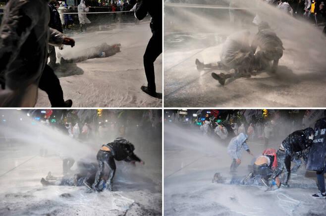 2015년 11월 백남기 농민이 집회에 참석했다 경찰이 쏜 물대포에 맞아 쓰러지는 모습.     <한겨레> 자료사진