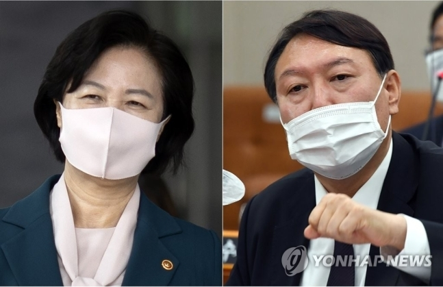 ▲추미애 법무부 장관(왼쪽)과 윤석열 검찰총장. 연합뉴스
