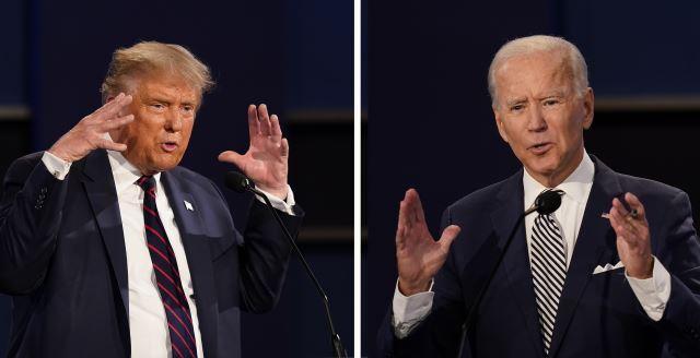 도널드 트럼프(왼쪽) 미국 대통령과 조 바이든 민주당 대선 후보. AP뉴시스