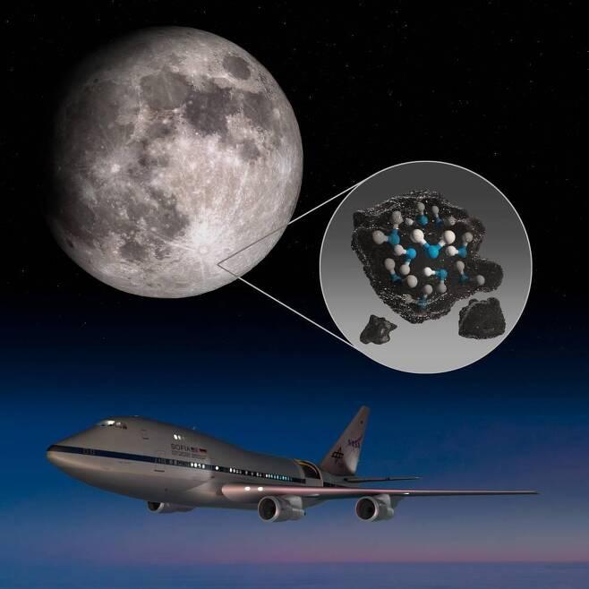 달 클라비우스 크레이터서 물분자 분광신호를 포착한 SOFIA [NASA/Daniel Rutter 제공/ 재판매 및 DB 금지]