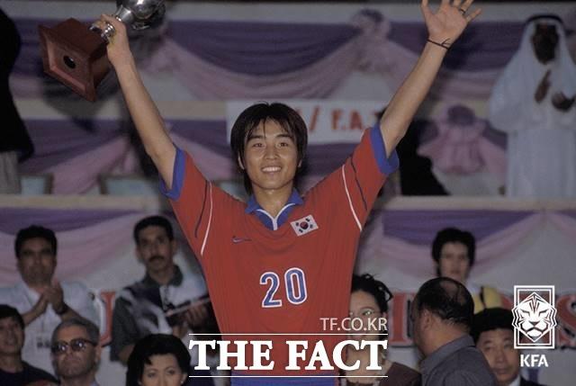 1998 AFC청소년대회결승전 한국 vs 일본이 끝난 후 시상식에서 득점왕 수상한 이동국./KFA 제공