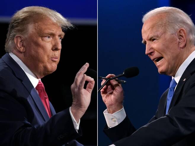 도널드 트럼프(왼쪽) 미국 대통령과 조 바이든 민주당 대선 후보가 지난 22일(현지 시각) 열린 대선 후보 마지막 TV 토론회에서 공방을 벌이는 모습. /AFP 연합뉴스