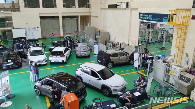 한국전기연구원(KERI) 전기차 급속충전 상호운용성 테스티벌 현장 사진. (사진= KERI 제공)