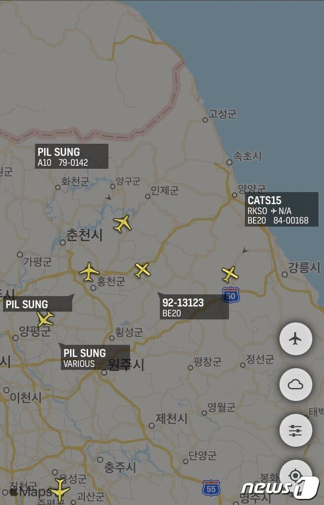 4일 오전 항공기 추적 트위터 계정 '노콜사인'에 포착된 주한미군 지상공격기 A-10(선더볼트-Ⅱ) 3대와 정찰기 가드레일(rc-12x) 1대. /출처= @ Nocallsign17) © 뉴스1