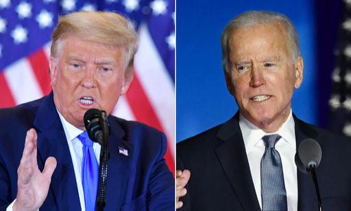 미국 도널드 트럼프 대통령(왼쪽)과 민주당 조 바이든 대선 후보. 연합뉴스