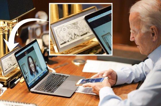 조 바이든 미국 대통령 당선인의 책상에는 '만화 액자'(노트북 뒤편)하나가 놓여있다. 그가 1972년 교통사고로 아내와 딸을 잃은 후 신을 원망하며 슬픔에 빠져있자 그의 아버지가 그에게 건넨 것이다. [트위터 캡처]