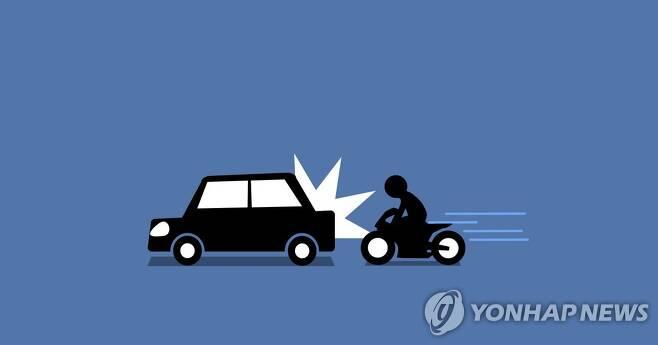오토바이 - 승용차 추돌사고 (PG) [권도윤 제작] 일러스트