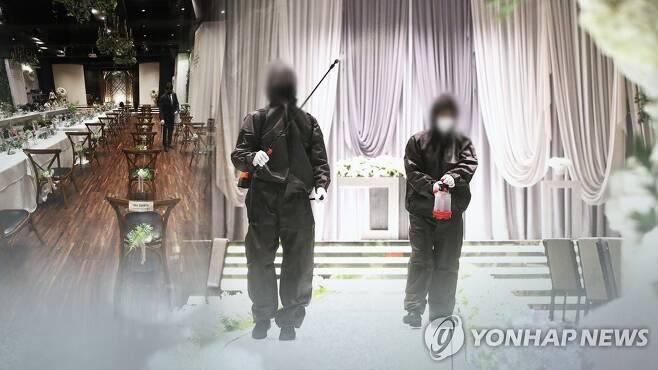 예식장 방역 모습 (CG) [연합뉴스TV 제공]
