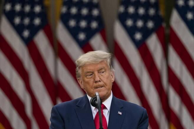 도널드 트럼프 미국 대통령이 13일(현지시간) 백악관 로즈가든에서 공개 행사를 하고 있다. 2020.11.14./사진=[워싱턴D.C=AP/뉴시스]