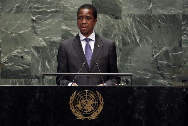 에드거 차과 룽구 잠비아 대통령이 지난해 유엔 총회에서 연설하고 있다. 전 세계 국가들이 코로나19 대응을 위해 부채를 늘리는 가운데 잠비아는 지난 13일(현지시간) 4,250만달러의 외채 이자를 상환하지 못해 디폴트(채무불이행) 상태에 놓였다. /AP연합뉴스