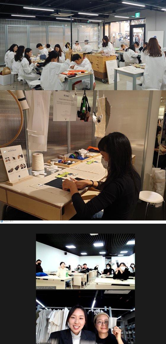 코오롱FnC 래코드의 '리테이블 워크숍'. (위부터) 코로나19 전 노들섬에서 진행한 프로그램, 이달 압구정 갤러리아백화점 내 설치된 팝업 부스. 줌 라이브로 업사이클링 제품을 만드는 사람들의 모습. 사진 래코드