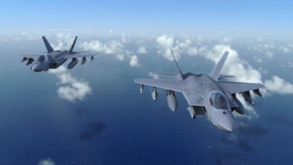 KF-X가 각종 항공 무장을 탑재한 채 비행하는 개념도.