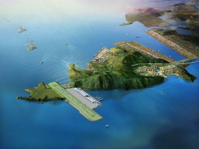 가덕도 신공항 조감도. 영종도의 인천국제공항처럼 바다 매립지에 공항을 건설한다는 계획이다. 부산시 제공