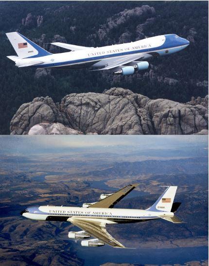 미국 대통령 전용기인 '에어 포스 원'의 모습이다. 윗쪽은 1990년부터 현재까지 운항하고 있는 기종이다. 도널드 트럼프 대통령의 취향에 맞게 외관 도색을 했다. 아랫쪽은 1962~1990년까지 미 대통령을 태우고 다닌 기종이다. 모두 미 항공기 제작사 보잉이 만들었다. [보잉 홈페이지]