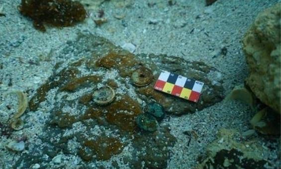 제주 신창리 해역서 발견된 중국 동전.(국립해양문화재연구소 제공)© 뉴스1