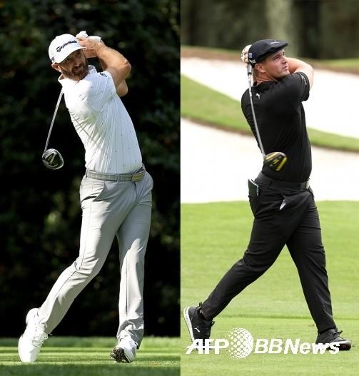 더스틴 존슨과 브라이슨 디섐보가 2020년 미국프로골프(PGA) 투어 메이저대회 마스터즈에 출전했을 때 모습이다. 사진제공=ⓒAFPBBNews = News1