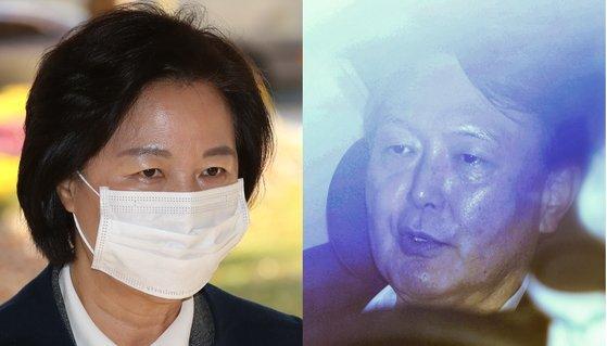 추미애(왼쪽) 법무부 장관과 윤석열 검찰총장. 연합뉴스