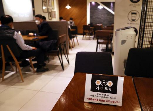 지난 17일 서울시내 한 카페에 좌석 간 거리두기 안내문이 설치돼 있다.(사진=연합뉴스)