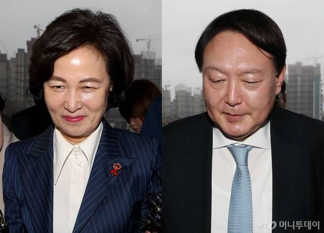 추미애 법무부 장관(사진 왼쪽)과 윤석열 검찰총장. / 사진=과천(경기)=이기범 기자 leekb@