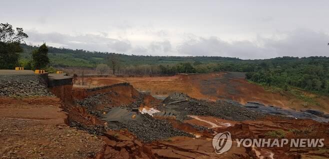 2018년 7월 붕괴한 라오스 보조댐 [연합뉴스 자료 사진]