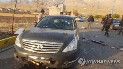 27일 테헤란 부근에서 테러를 당한 이란 핵과학자 모센 파크리자데가 탄 차량 [로이터=연합뉴스 자료사진. 재판매 및 DB 금지]