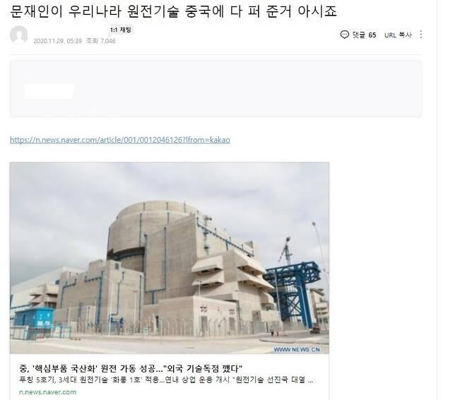 '문재인 정부가 중국에 원전 기술 넘겨?' [출처: 온라인 커뮤니티 화면 갈무리]