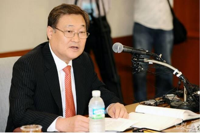 정연주 전 KBS 사장이 2008년 8월 6일 오후 서울 여의도 KBS 본관 제1회의실에서 기자회견을 열고 감사원 발표에 대한 입장 등을 발표하고 있다.(사진=자료사진)