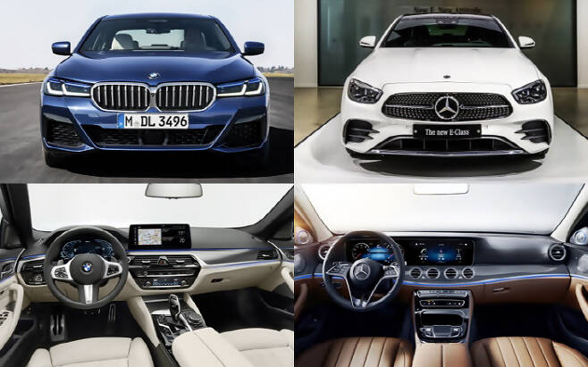 신형 BMW 5시리즈(사진 왼쪽)와 신형 벤츠 E클래스 [사진 제공 = BMW코리아, 벤츠코리아]