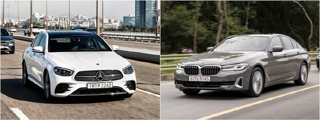 신형 벤츠 E클래스(왼쪽)과 신형 BMW 5시리즈 [사진 제공 = 벤츠코리아, BMW코리아]