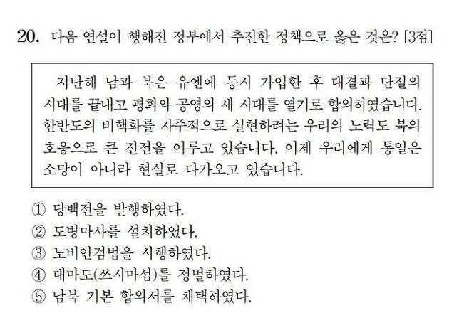 한국교육과정평가원이 공개한 2021학년도 대학수학능력시험(수능) 한국사 20번 문제.