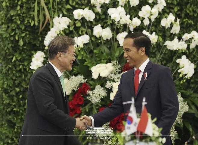 우리나라와 인도네시아는 지난 2017년 문재인 대통령의 인도네시아 국빈방문을 계기로 양국 관계를 '특별 전략적 동반자 관계'로 격상하기로 합의한 바 있다. 사진=대한민국 청와대