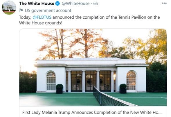 영부인 멜라니아 트럼프 여사가 지휘해 완공한 백악관 테니스코트. 멜라니아 트위터 캡쳐