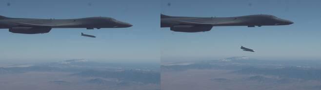 미 국방부가 9일(현지시각) 공개한 B-1B의 재즘 시험 발사 모습. /미 국방부