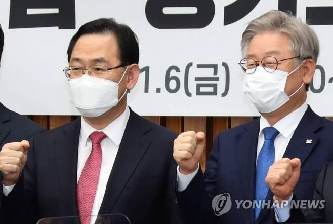 주호영 원내대표(왼쪽)과 이재명 경기도지사(오른쪽) [연합뉴스 자료사진]
