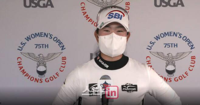 김아림이 경기를 마친 뒤 인터뷰하고 있다. (사진=USGA 홈페이지 화면 캡쳐)