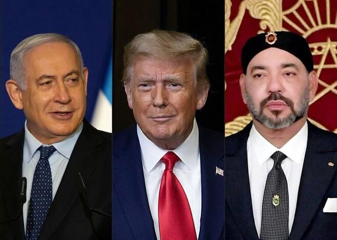 모로코가 10일 미국의 중재로 이스라엘과 관계 정상화에 합의했다. 왼쪽부터 베냐민 네타냐후 이스라엘 총리, 도널드 트럼프 미국 대통령, 모하메드 6세 모로코 국왕. AFP 연합뉴스